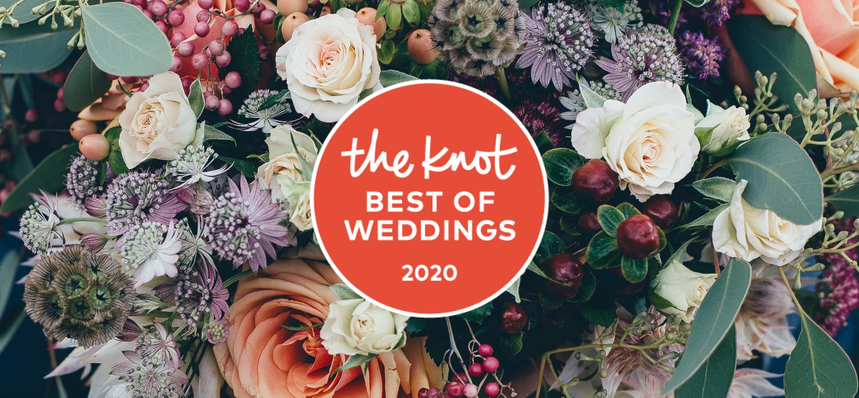 The Knot 2020 Best Of Weddings Aware On Top Of Flower Background. Desktop Image